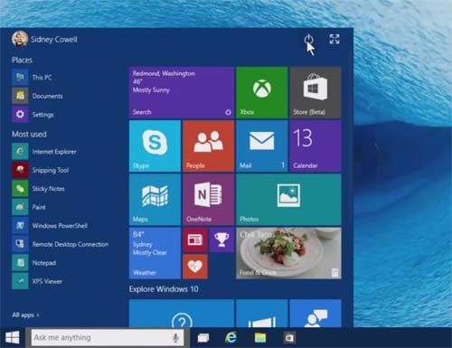 Menu do Windows 10 Iniciar