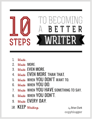 image of 10 Steps to Becoming a Better Writer Poster