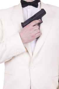 image of secret agent in a white tuxedo