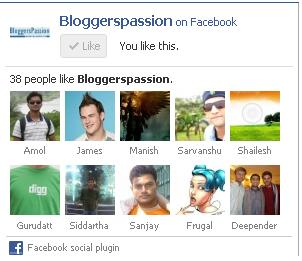 Facebook Like Box Bloggers Passion