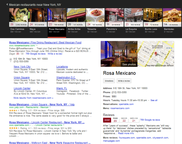 Display do Google Knowledge Graph Carousel
